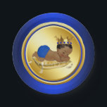 "Blue Gold Ethnic Prince Baby Shower Paper Plate<br><div class=""desc"">Blue and gold prince baby shower paper plates with cute African American ethnic prince on a beautiful royal blue an gold background. These adorable royal blue prince baby shower paper plates are easily customized with text.</div>"