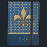 """Blue Gold Faux Metal Fleur de Lis Cover For iPad Air<br><div class=""""desc"""">Protect your iPad air in grand style with this case featuring a faux gold metal Fleur de Lis symbol on a blue and gold fleur de lis pattern background. Personalize with your initials or other text. Click customize it to change the font and text placement.</div>"""