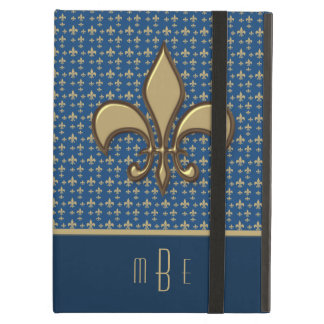Blue Gold Faux Metal Fleur de Lis Cover For iPad Air