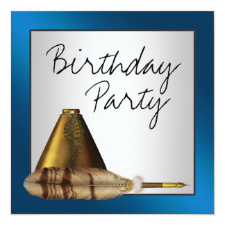 Blue Gold Feather Quill Pen Ink Well Party Invite
