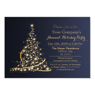 Blue Gold Festive Corporate Holiday Party Invite