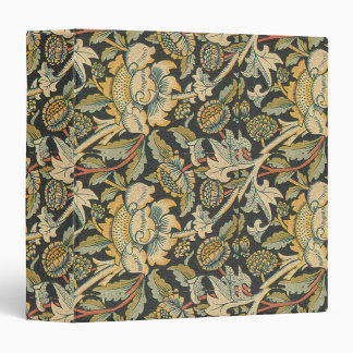 Blue Gold Floral Fabric 3 Ring Binder