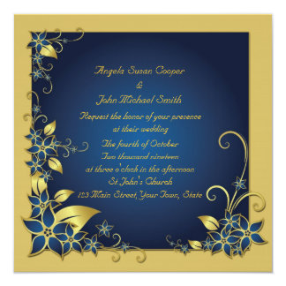 Blue, Gold Floral Frame Personalized Invitation