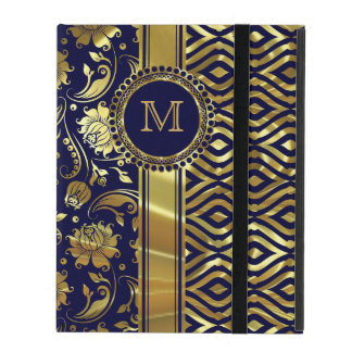 Blue & Gold Floral & Geometric Damasks Monogram 2 iPad Case