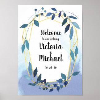 Blue Gold Floral Geometric Reception Wedding Sign