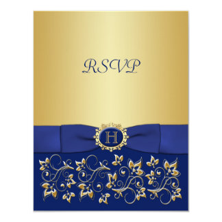 Blue, Gold Floral Scroll Wedding Reply Card Custom Announcement