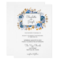 Blue Gold Floral Wedding Card