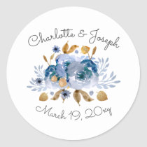 Blue Gold Floral Wedding Classic Round Sticker