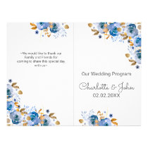 Blue Gold Floral Wedding Flyer