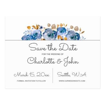 Blue Gold Floral Wedding Postcard