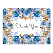 Blue Gold Floral Wedding Postcard