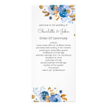 Blue Gold Floral Wedding Rack Card