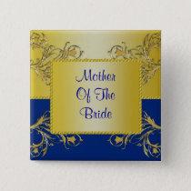Blue & Gold Flowering Vines Monogram Wedding Button