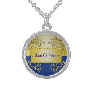 Blue & Gold Flowering Vines Monogram Wedding Round Pendant Necklace