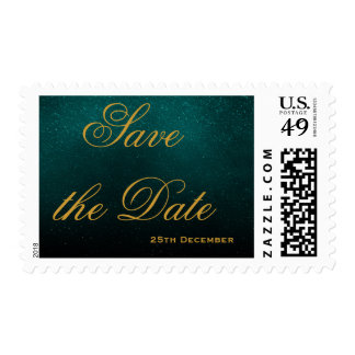 Blue Gold Foil Glamour Save the Date Postage