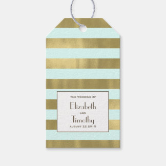 Blue Gold Foil Stripes Gift Favor Tag