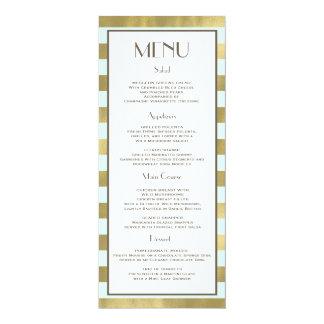 Blue Gold Foil Stripes Menu Card