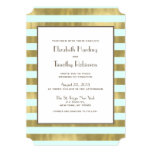 Blue Gold Foil Stripes Wedding Invitation