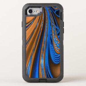 Blue Gold Fractal OtterBox Defender iPhone 7 Case