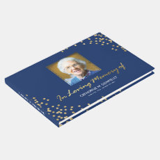 Blue Gold Funeral Condolence | Photo Memorial Guest Book