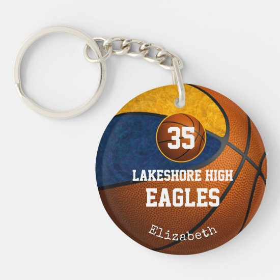 Blue gold girls basketball play like a girl keychain