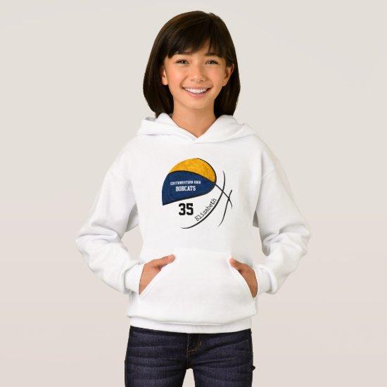 blue gold girls' basketball team colors hoodie