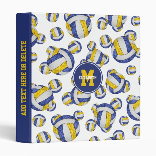 blue gold girls school colors volleyball pattern 3 ring binder