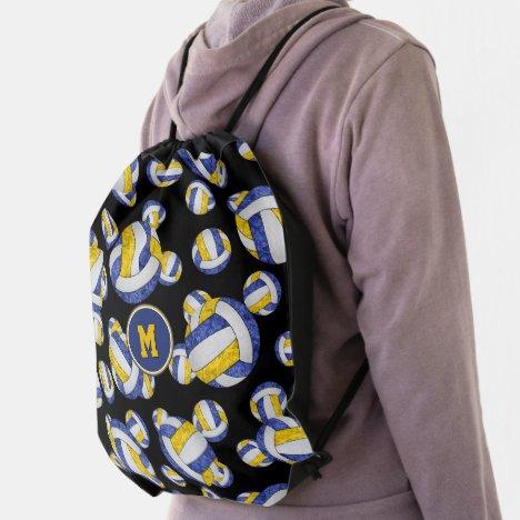 blue gold girls team colors volleyballs pattern drawstring bag