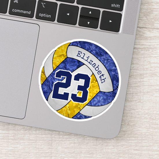 blue gold girls' volleyball school team colors sticker