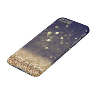 Blue & Gold Glitter Barely There iPhone 6 Case