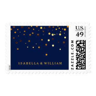 Blue Gold Glitter Confetti Faux Foil Postage