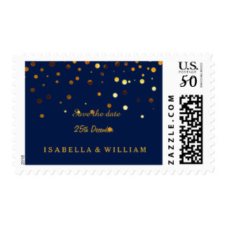 Blue Gold Glitter Confetti Save The Date Faux Postage