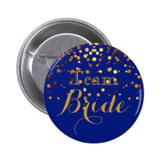 Blue Gold Glitter Faux Foil Wedding Team Bride Button