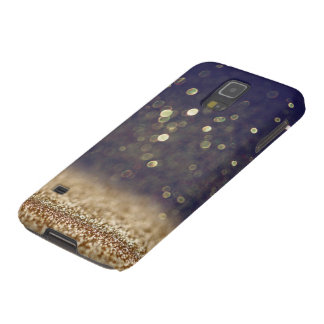 Blue & Gold Glitter Galaxy S5 Case