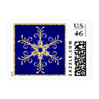 Blue, Gold Glitter LOOK Snowflake Postage