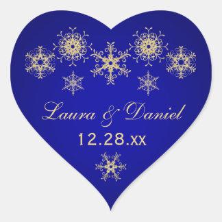 Blue, Gold Glitter LOOK Snowflake Wedding Sticker