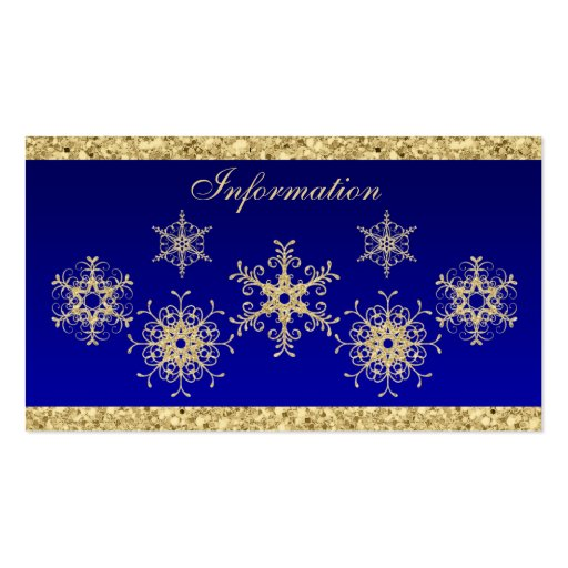 Blue, Gold Glitter LOOK Snowflakes Enclosure Card
