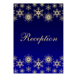Blue, Gold Glitter LOOK Snowflakes Enclosure Card Large Business Card
