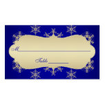 Blue, Gold Glitter LOOK Snowflakes Placecards Business Cards