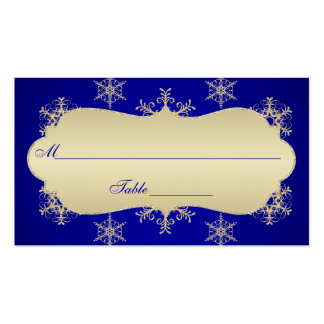 Blue, Gold Glitter LOOK Snowflakes Placecards Double-Sided Standard Business Cards (Pack Of 100)