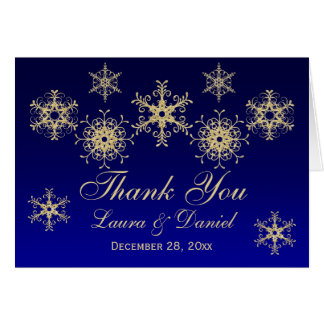 Blue, Gold Glitter LOOK Snowflakes Thank You Card