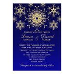 Blue, Gold Glitter LOOK Snowflakes Wedding Invite