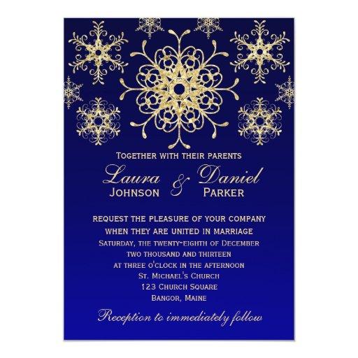 "Blue, Gold Glitter LOOK Snowflakes Wedding Invite 5"" X 7"" Invitation Card"