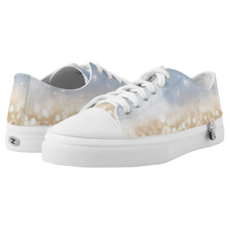 Blue & Gold Glitter Low-Top Sneakers