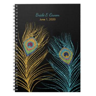 Blue Gold Glitter Peacock Feather Wedding Notebook