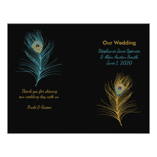 Blue Gold Glitter Peacock Feather Wedding Programs