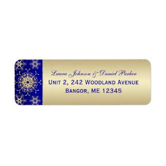 Blue Gold Glitter Snowflakes Return Address Label