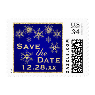 Blue, Gold Glitter Snowflakes Save Date Postage