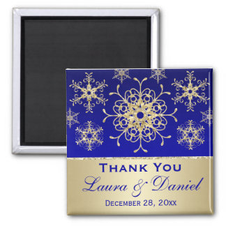 Blue, Gold Glitter Snowflakes Wedding Favor Magnet