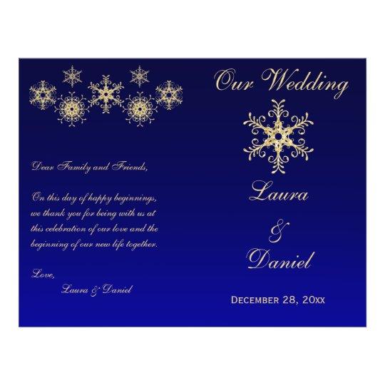 Blue, Gold Glitter Snowflakes Wedding Program